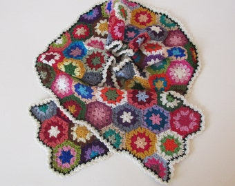 Multicoloured crocheted eco merino wool, soft and warm scarf in 45 cheerful pastel colors, hexagons, granny squares, flowers