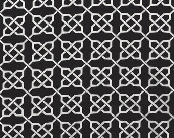 """Black and White Links Print - Cotton Fabric - 56"""" Wide - by the Yard"""