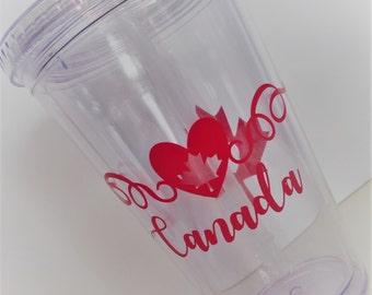 CANADA 16OZ ACRYLIC Tumbler - Show your Canadian Love! Maple Leaf, Canada Drinkware, Canadian Sticker, Canada Decal