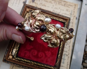 Vintage Art Nouveau Iris Adjustable Bracelet, offered by RusticGypsyCreations