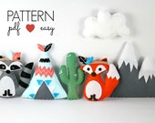 Tribal Nursery - Tribal Baby Mobile - Felt Sewing Pattern - Baby Mobile Pattern - Indian Mobile - Fox Pattern - Felt Teepee - Snowy Mountain