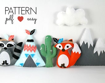 Tribal Nursery, Tribal Baby Mobile, Boho Nursery, Felt Sewing Pattern, Baby Mobile Pattern, Indian Mobile, Felt Teepee Mobile