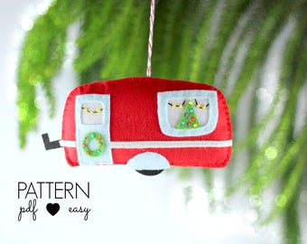 Christmas Ornament Pattern, Christmas Decoration Sewing Pattern, Retro Caravan, Retro Trailer Pattern, Vintage Camper, Quirky Christ