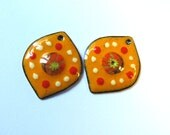 Colorful enamel charms Yellow orange petal earring dangles Artisan findings Murrini components Unique charms Enameled copper earring pair