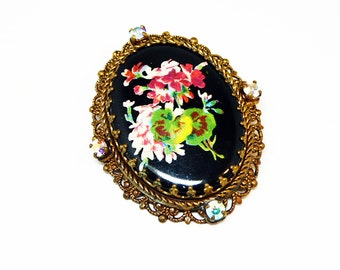 Hand Painted Glass Flower Brooch - Victorian Enamel and Filigree - Black Glass & Rhinestones -European Mourning Style - Made in Germany