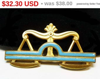 Spring Sale Art Deco Scales Brooch - Gold with Blue Enamel Pin