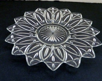 Petal Federal Glass Vintage Crystal Clear Petal Pattern Glass Plate 11 1/2 inch