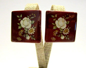 Vintage White Rose Clip Earrings Red Plastic Light Weight Square Clip Jewelry Under 10 Gift Idea Gift for Mom Gift for Her