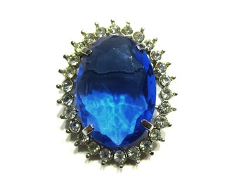 """Vintage Blue Rhinestone Brooch Vintage Pin 1 1/4"""" Pendant Blue Wedding Jewelry Gift for Her Gift for Mom Gift Idea Under 15"""