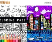 50% Off Storewide- San Diego California Skyline City Coloring Book Pages, Adult Coloring Cityscape Printable Instant Download