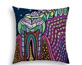 40% Off Today- Tooth Art Pillow -  Dentist Lover Gift Folk Art by Heather Galler Dental Medical Science Teeth Anatomy Dentist Dentisty gift