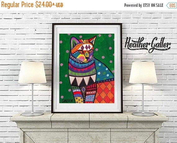 50% Off Today- Cat Art print Ginger Orange Cat Poster by Heather Galler (Hg256)