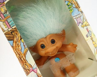 Treasure Troll MIB Mint In Box Teal Turquoise Baby Light Blue 80s Toy
