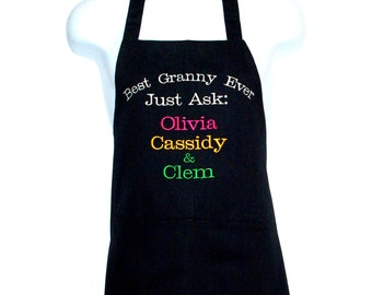 Best Granny Ever Apron, Monogrammed, Personalized With  Four Names, Nana, Mimi, Granny, Ma, No Shipping Charge, ShipsTODAY, AGFT 1235