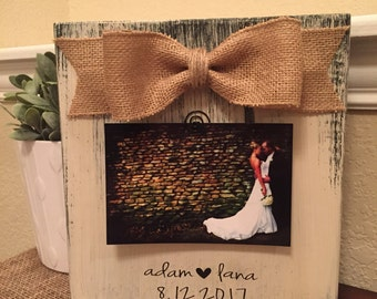 Engagement Gift Engagement Picture Frame 4x6 Wedding Gift Personalized Wedding Gift Rustic Wedding Picture Frame Engagement Announcement