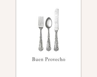 Dining Room Decor, Spanish Art Print, Buen Provecho, Mexico