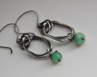 Chrysoprase Earrings Sterling Silver Earrings Handcrafted Hoops Oxidized Twisted Irregular Oval ~ Wire Wrapped Green Gemstone Organic Hoops