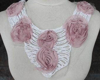Cute    embroidered applique with pink color chiffon  flowers