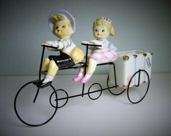 Vintage 1950s 1960s Metal Bicycle Built For Two Figurine Luggage Planter Vase Boy Girl Children Kids Old Ceramic Retro 50s 60s Antique PY