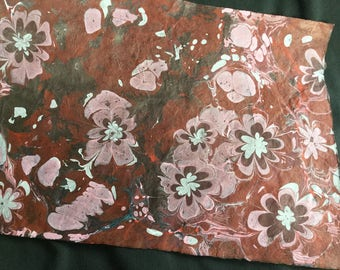 Dracula's Garden II - Extra Large Hand Marbled Lokta Art Paper Gray Pink Red and Black on Burgundy Paper