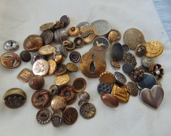 Lot of Vintage Metal Buttons for Crafts