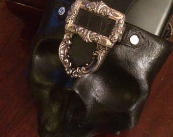 Leather Skull Flask Holster