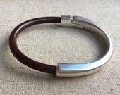 Medium leather width Cuff BRACELET half BROWN leather, half metal magnetic SILVER clasp bracelet