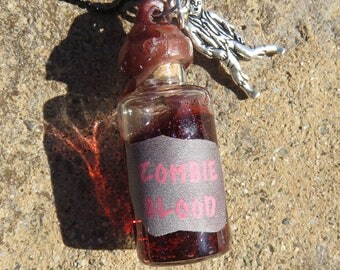 Zombie Blood In Tiny Glass Bottle Necklace, Zombie Necklace, Zombie Party Favor, Boy Zombie Necklace, Zombie Blood