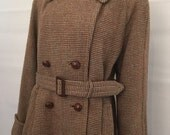 RESERVED Vintage 1940s Harris Tweed ladies double breasted coat overcoat