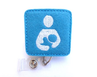 Breastfeeding badge holder - Mother and baby - dark turquoise peacock felt with white badge reel - lactation specialist consultant nurse