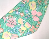 Pastel Floral Head Scarf Colorful Spring Flowers 60s Vintage Green Pink Yellow Mod Triangle Hair Neck Scarf