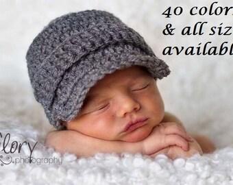 Baby Boy Newsboy Hat - Newborn Boy Crochet Hats - Infant Boy Photo Props - Newborn Props - Newborn Crochet Outfits Boy - Baby Boy Clothes
