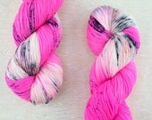 "Rad Sock - ""Caught Your Eye"" - the bright pink yarn with multicolor speckles - fingering weight superwash merino"