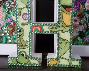 Letter H, Frogs with green rhinestones, glitter, initial, decoupage, letters, name, initials