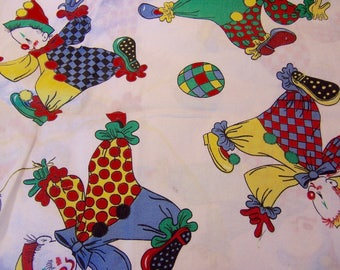 adorable clowns cotton fabric scrap