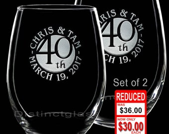 2 Anniversary Wine Glasses - 1st 5th 10th 20th 25th 30th 40th 50th Wedding Anniversary Gifts Stemless Wine Wedding Gift Ships to Canada