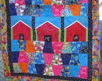 Doghouse Dogs Batik Lap Baby Quilt Patchwork Toddler Quilt