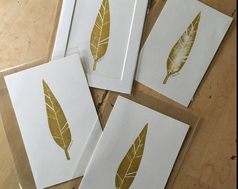 SALE - Gold Feather Linocut Prints