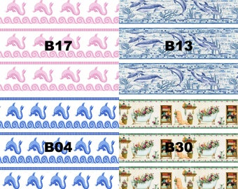 Dolls House Wallpaper Border 77 ins long 1/12th 1/24th choice of 4 designs Bathroom