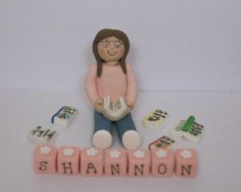 Handmade Edible reading, books, girl, lady Cake Topper Decoration
