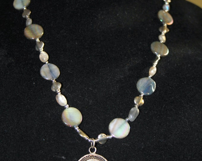 Vintage Sterling Pendant with Gray Coin Pearls, Labradorite Nuggets and Sterling Bali Bead Necklace