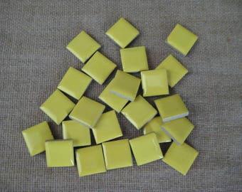 "Yellow Ceramic Tiles for Stepping Stone or Mosaic DeStash Craft Supply / 1/2"" Yellow Ceramic Tile"