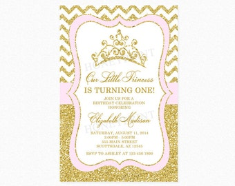 Gold Glitter Tiara Birthday Party Invitation, Princess Tiara Birthday Party Invitation, Pink, Personalized, Printable or Printed