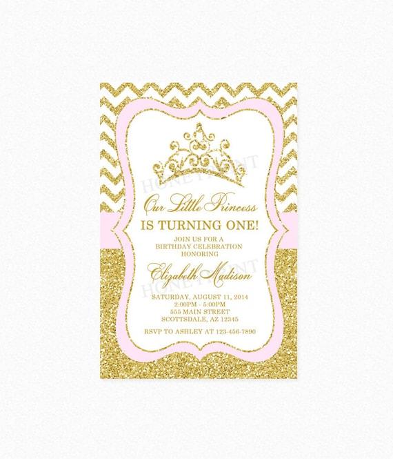 Gold Glitter Tiara Birthday Party Invitation Princess