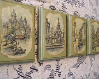 Retro Set of Four 1970s Wall Hangings Wood Plaques Decoupage Street Scenes Kitsch