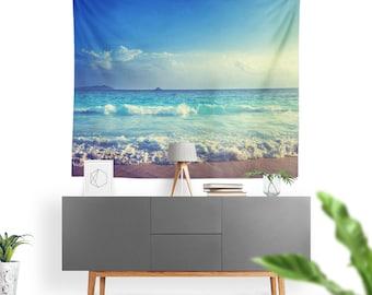 Art Tapestry Beach Ocean Sand Sun Fine Art Photography. Wall Tapestry. Art Wall Hanging. Calm Blue Sky, Sandy Beach, Ocean Water, Wall Art 2
