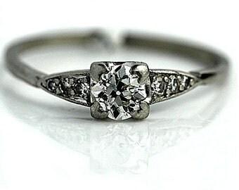 Art Deco Engagement Ring 1930's .67ctw Vintage Antique Diamond Ring Old European Cut Diamond Engagement Ring in Platinum!