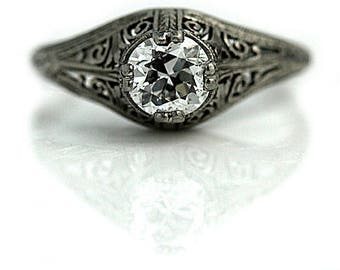 Antique Engagement Ring Art Deco Diamond Engagement Ring .68ctw Solitaire Platinum Antique Filigree Ring Vintage Deco Engagement Ring!