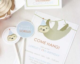 Sloth Party Invites