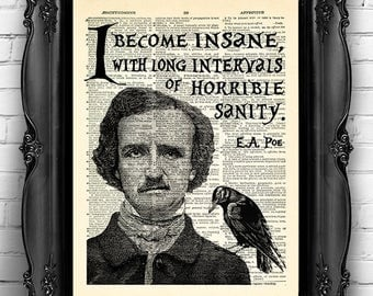 edgar allan poe art quote lite so lovely was the loneliness edgar allan poe print i become insane long intervals quote poe art print poe quote